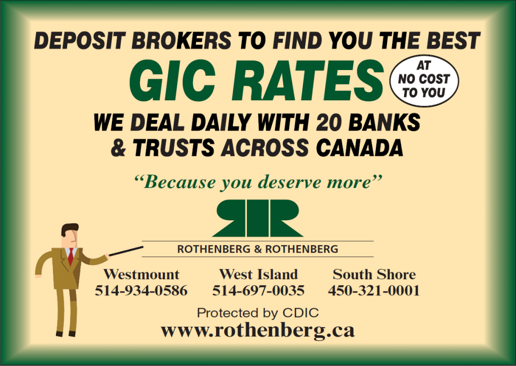 Rothenberg GIC Rates Investment Deposit Brokers best